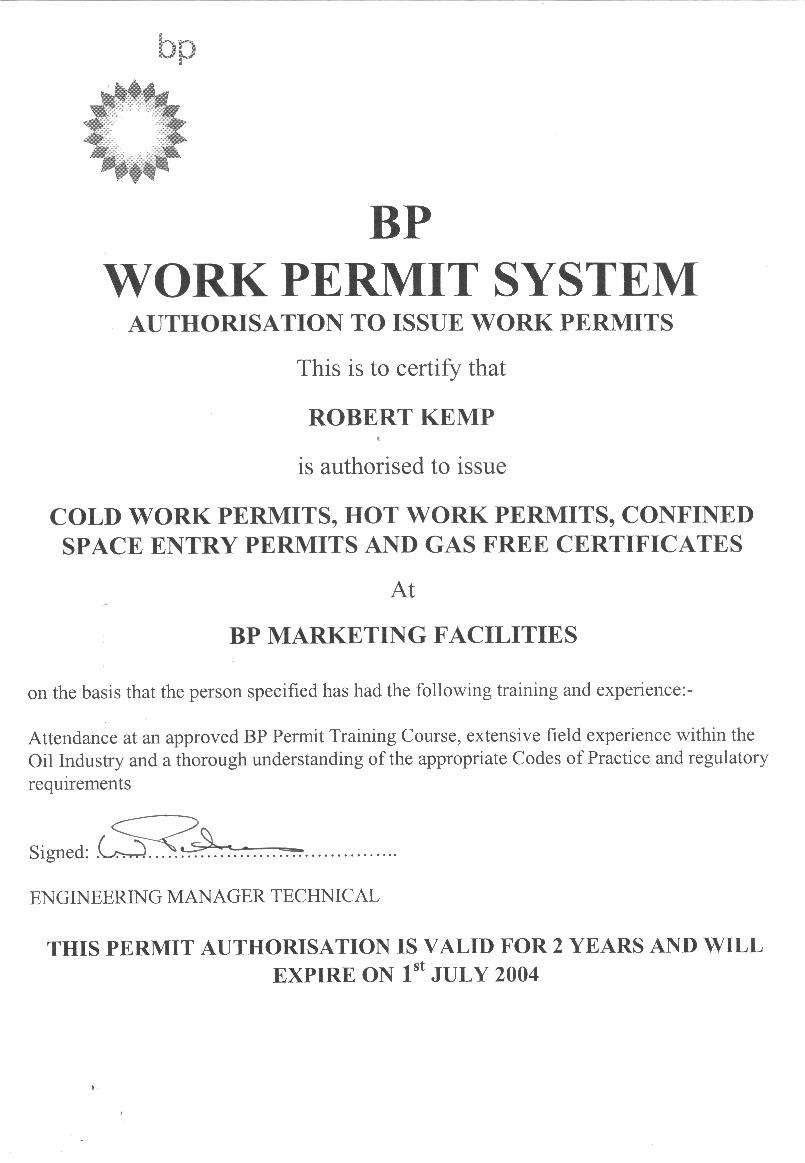 work permit Hot work permit definition - a hot work permit is a permit that is needed in some countries, and on some jobsites, in order to perform work that.