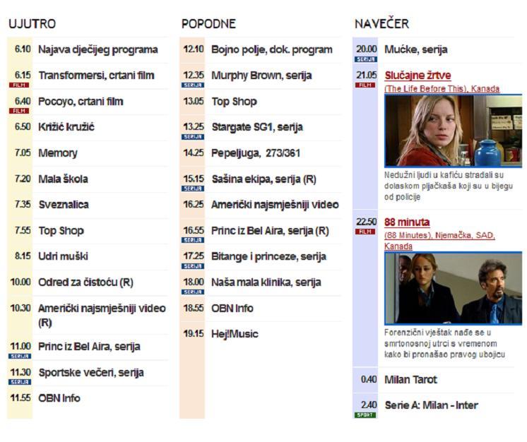 Raspored programa - BiH kanali - net Televizor - Internet Televizija .